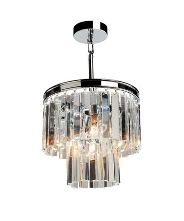 Shown in Chrome finish and Long Shaped crystal