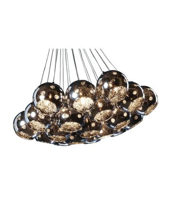 Shown in Polished Chrome finish, Metallic Plated glass and Fabric Pleated shade