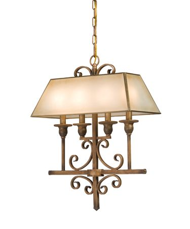 Shown in Distressed Bronze finish and Light Cream Colored Glass shade