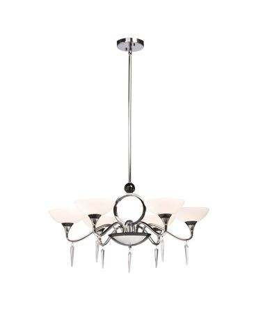 Shown in Chrome finish, Crystal Droplets crystal, White glass, Brown Organza shade and Glass Jewels accent