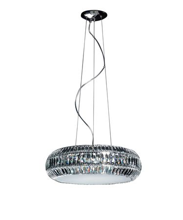 Shown in Chrome finish, Pendalogues crystal and Frosted Bottom Diffuser glass