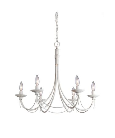 Shown in Antique White finish and White Glass Elements Filled with Radiant Crystal Inserts accent