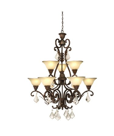 Shown in Bronze finish, Caramelized and Gold Trim glass and Crystal Bobeche accent