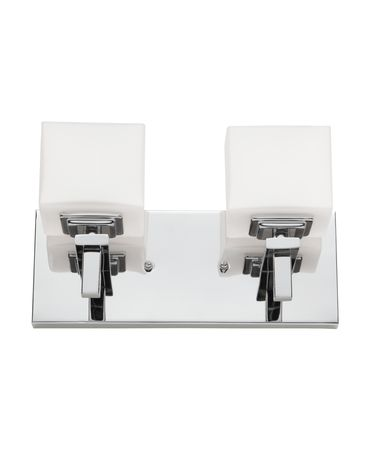 Shown in Chrome finish, Frosted White glass and Crystal accent