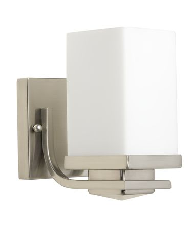 Shown in Brushed Nickel finish and Satin Opal glass