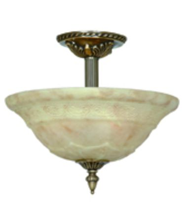 Shown in Antique Brass finish and Light Cream glass