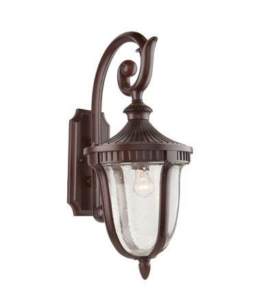 Shown in Mahogany finish, Clear Seeded glass and White Hard Back Fabric shade