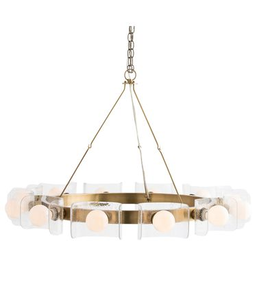 Shown in Antique Brass finish and Curved Seedy glass
