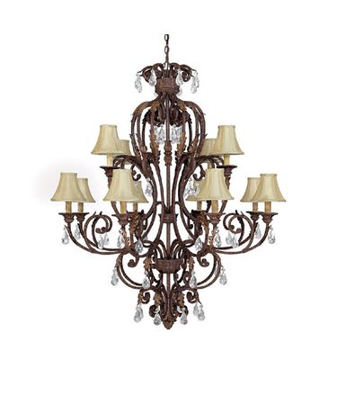 Shown in Gilded Umber finish, Crystal Set Sold Separately crystal and Fabric shade
