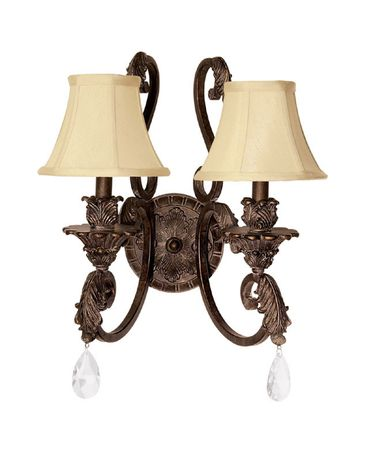 Shown in Gilded Bronze finish, Clear Crystal crystal and Fabric shade