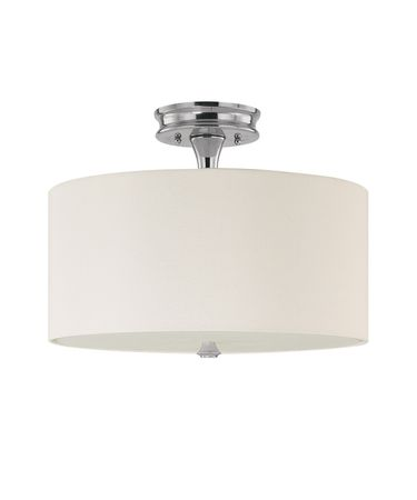 Shown in Polished Nickel finish, Frosted glass and White Fabric shade