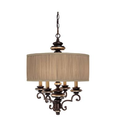 Shown in Champagne Bronze finish and Fabric shade
