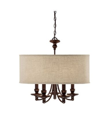 Shown in Burnished Bronze finish and Beige Fabric shade