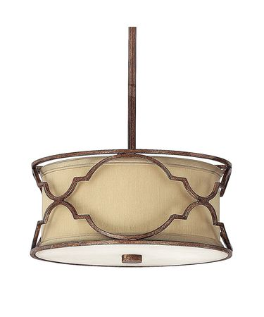 Shown in Bronze with Gold Dust finish and Fabric shade