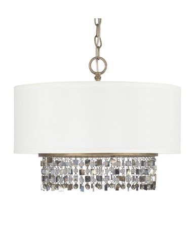 Shown in Brushed Gold finish, Clear and Painted crystal, White shade and Capiz Shells accent