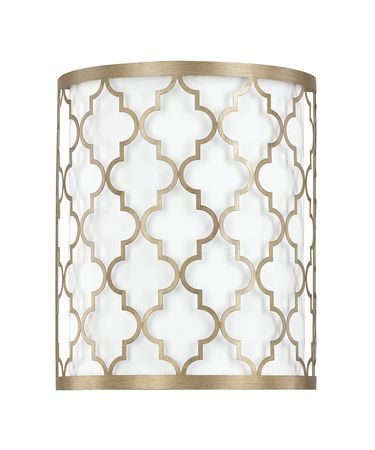 Shown in Brushed Gold finish and White Fabric shade
