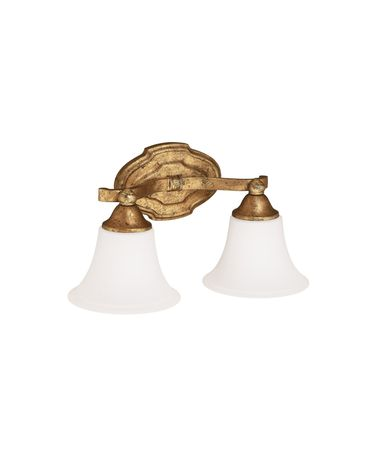 Shown in Antique Gold finish and Soft White Glass glass