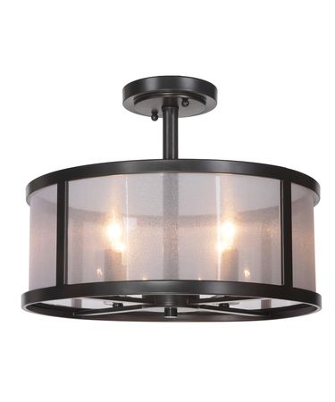 Shown in Matte Black finish and Organza Wrapped Fabric shade