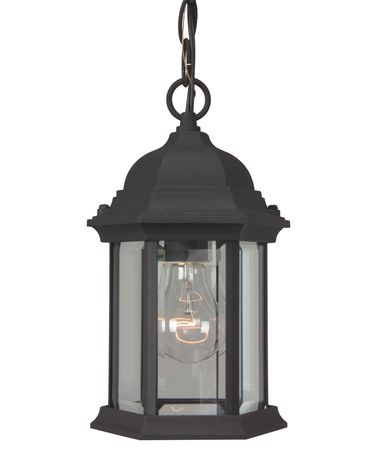 Shown in Matte Black finish and Clear Beveled glass