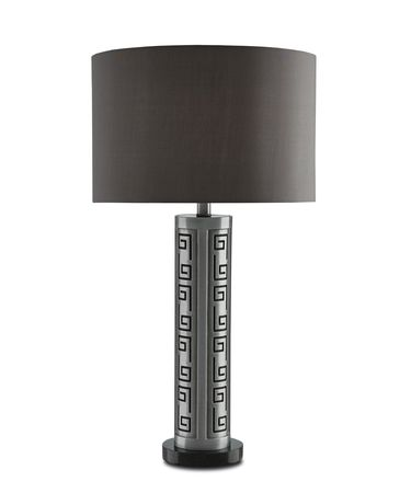 Shown in Antique Silver-Black finish and Dark Grey Linen shade