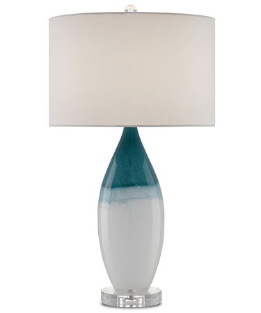 Shown in White-Blue-Polished Nickel-Clear finish and White Linen shade