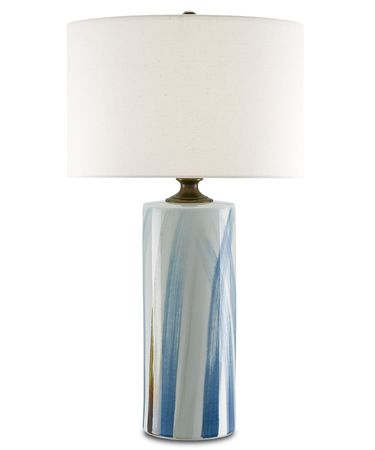 Shown in White-Blue-Dark Green-Antique Brass finish and Sand Linen shade