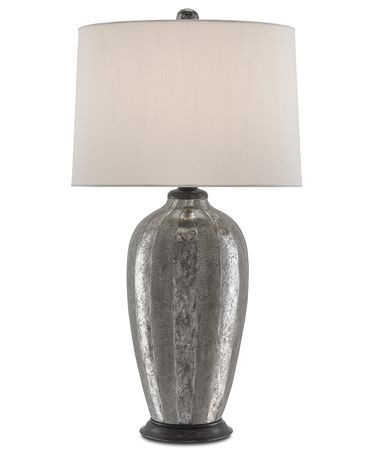 Shown in Metallic Silver-Aged Steel finish and Off White Shantung shade