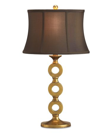 Shown in Antique Brass finish and Brown Shantung shade