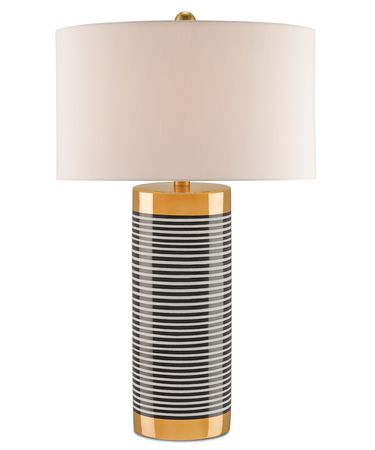 Shown in Gold-Black and White Stripes-Satin Brass finish and Off White Shantung shade