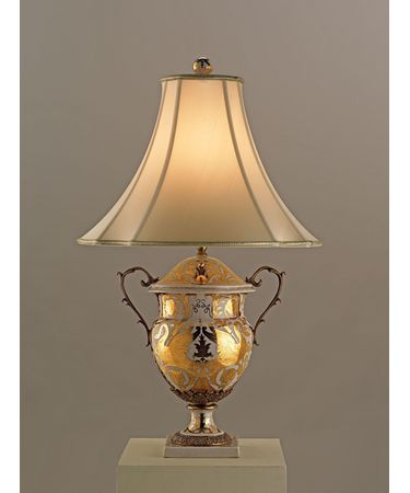Shown in Antique White and Gold Porcelain-Antique Brass finish and Beige Silk shade