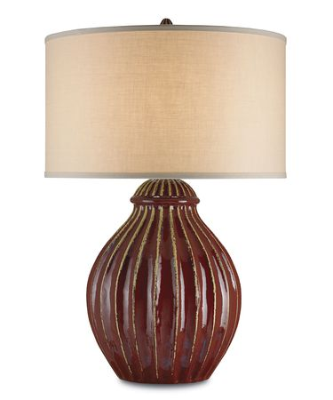 Shown in Red finish and Light Beige Linen shade
