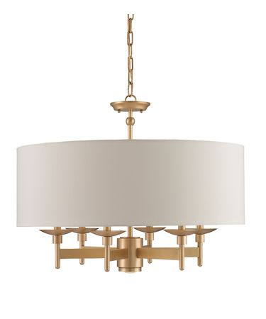 Shown in Antique Brass finish and Eggshell Shantung shade