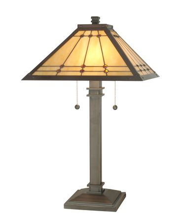 Shown in Antique Brass finish and Art Glass shade