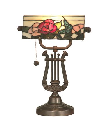 Shown in Antique Bronze finish and Hand Rolled Art Glass shade