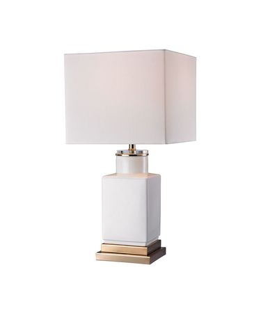 Shown in Gold finish, White glass and White Faux Silk shade