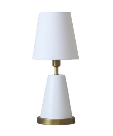Shown in White with Weathered Brass finish and Linen Hardback shade
