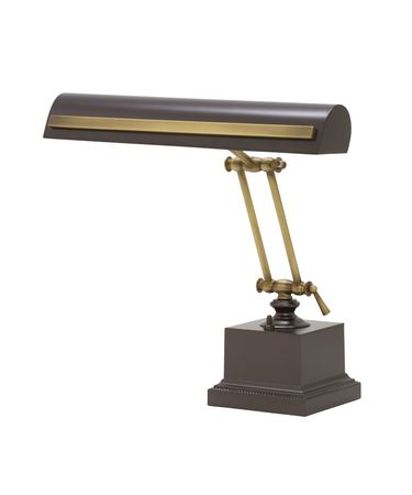 Shown in Mahogany Bronze with Antique Brass finish and Metal shade