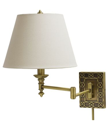Shown in Antique Brass finish and Off-White Linen Hardback shade