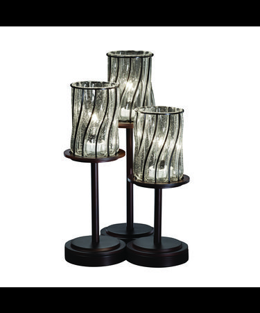 Shown in Dark Bronze finish, Swirl with Clear Bubbles glass and Cylinder with Flat Rim (WGL) shade