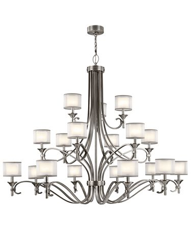 Shown in Antique Pewter finish, Satin Etched White glass and White Organaza shade