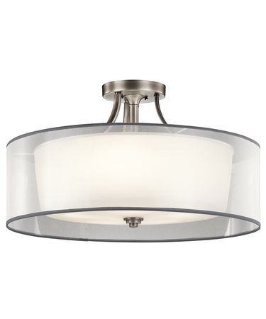 Shown in Antique Pewter finish, Satin Etched White glass and White  Translucent Organza shade