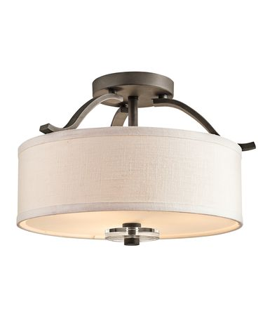 Shown in Olde Bronze finish, Satin Etched glass, White Fabric shade and K9 Optical Crystal Discs accent