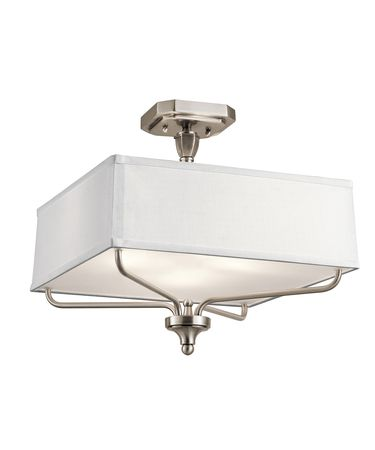 Shown in Classic Pewter finish, Etched Diffuser glass and WHITE FABRIC shade