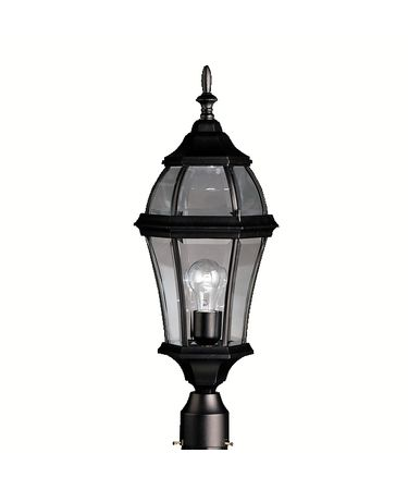 Shown in Black finish and Clear Beveled glass