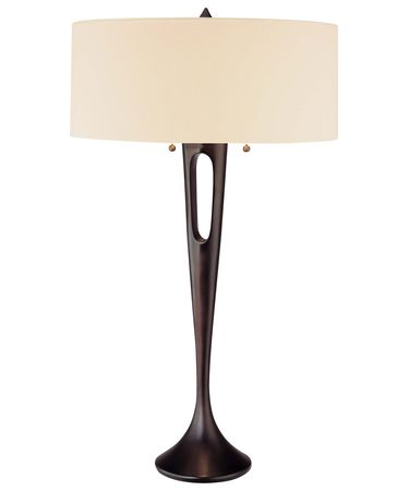 Shown in Antique Dorian Bronze finish and Ivory Linen Fabric shade