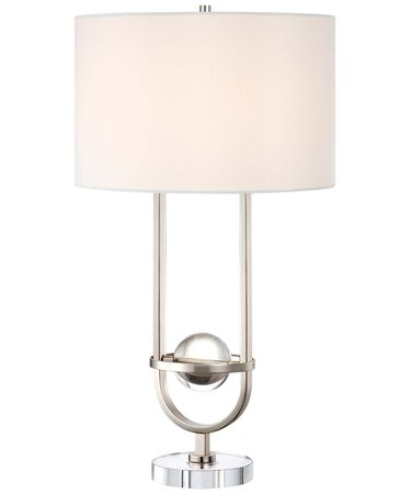 Shown in Brushed Nickel finish and White Fabric shade