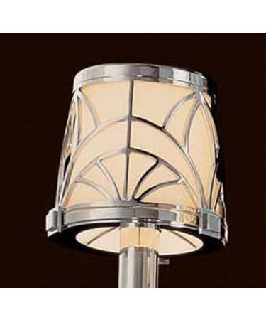 Shown in Chrome finish and Etched White Glass glass