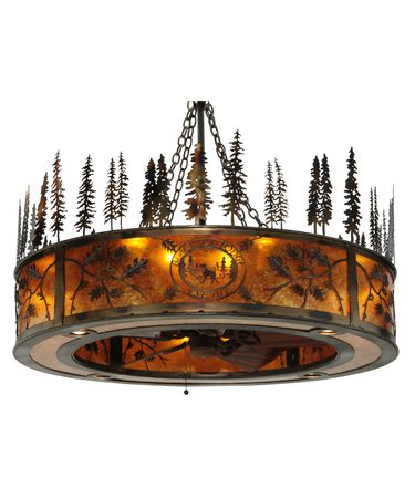 Shown in Burnished Antique Copper finish and Amber Mica glass