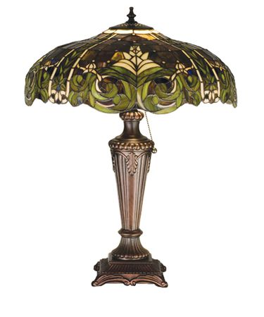 Shown in Mahogany Bronze finish and Amber Green-White glass