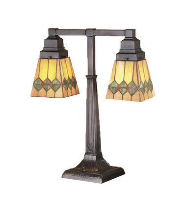 Shown in Mahogany Bronze finish and Olive Green-Pimento Red-Honey Amber glass